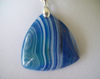 Blue Striped Agate Stone Pendant