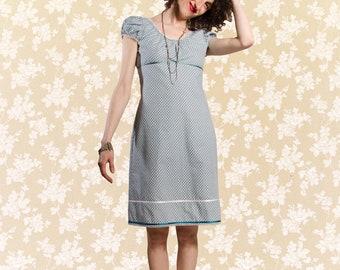 Dress Bio-Melisende: organic cotton, blue-grey, white, dots