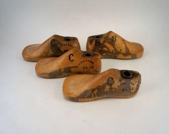 Wooden Shoe Lasts Four Children's Size 3C Vintage Shoe Forms Cobbler's Shoe Lasts