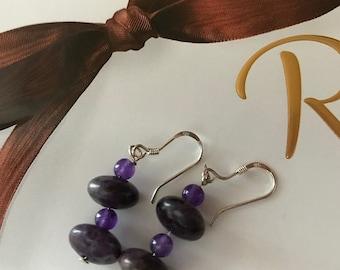 Amethyst and Purple Agate Dangle Earrings