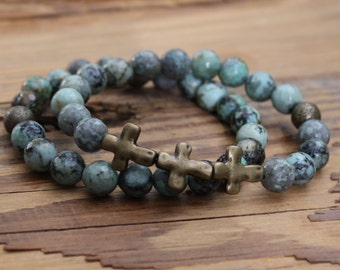 turquoise bracelet cross bracelet religious jewelry bracelet beaded bracelet beads gifts Mother's Day gift confirmation gift