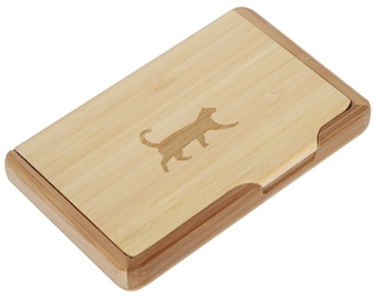 Cat Bamboo Business Card Holder With Laser Engraved Design - Business Card Keeper - Holds Up To 10 Cards