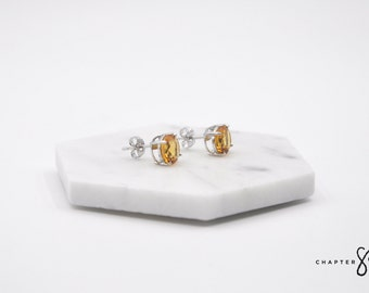 Citrine Circle | Citrine Earrings | Citrine Stud Earrings | Orange Stud Earrings | Orange Stone Earrings | Sterling Silver Earrings