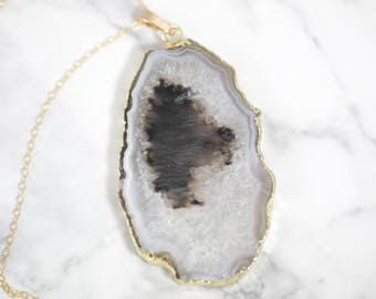 Forelsket Agate Necklace // 14k Gold Filled Cable Chain // White and Dark // Drusy // Druzy Necklace