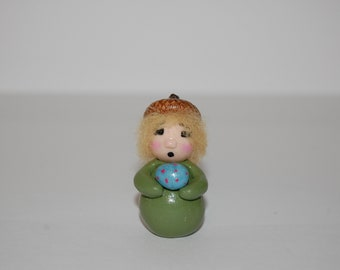 Polymer Clay Acorn Elf or Gnome - Miniature Fairy Garden Decoration