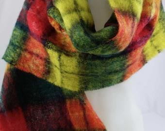 "Vintage Glentana MOHAIR Scarf Wrap Shawl Made in Scotland Classic Plaid 17""x72"""