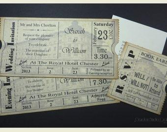 Vintage Ticket Wedding Invitation Suite Cinema Film Theater