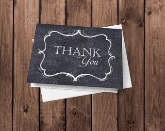 Chalkboard Thank You Cards | Chalkboard Notecards | Chalkboard Stationery | Folded Card | Blank Thank You Card