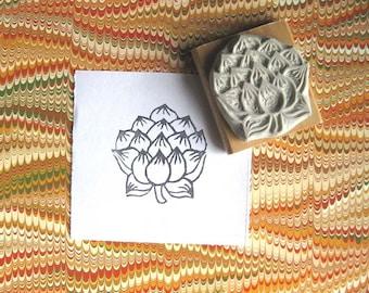 Japanese Lotus - Hand-Carved Stamp