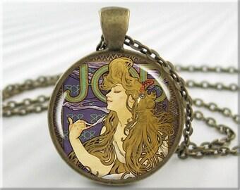 Mucha Art Pendant, Alphonse Mucha Job Necklace, Vintage Art Jewelry, Resin Charm, Round Bronze, Gift Under 20 (374RB)
