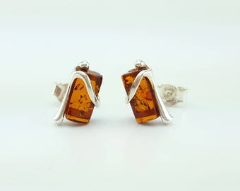 sterling silver and natural baltic amber earrings