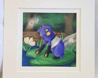 "Croagunk Fan Art- Pre-matted, 8""x8"""