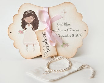 African american kid etsy baptism gift pearl cross bracelet personalized religious kids jewelry charm card box baby girl dutchpearl negle Choice Image