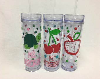 Teacher apple, Personalized  drinkware, polka dots, Available in sport bottle, skinny, kiddie & XL Tumbler