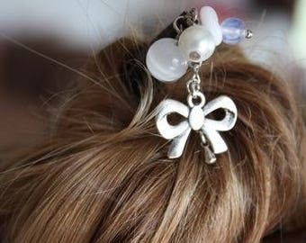 pic à cheveux bois noeud blanc