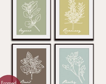 Italian Herb Prints (Series C2) Set of 4 - Art Poster Prints (Featured in Neutral Color Palette) Tuscany -Vintage Modern Art Prints