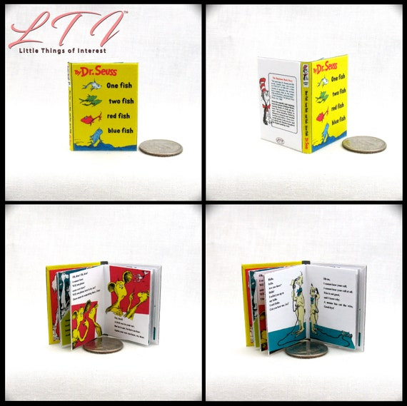 ONE FISH TWO Fish 1:6 Scale Book Readable Illustrated Miniature Book Dr. Seuss Blythe Barbie Scale Book Children's Nursery Story Book