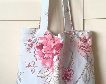 Floral fabric bag, market bag, book bag, shopper bag, summer bag, gift for her, bag for women, tote bag, birthday gift, shoulder bag, gift