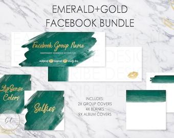 Lipsense FACEBOOK BUNDLE Emerald+Gold - lipsense distributor social media branding kit - Digital Download