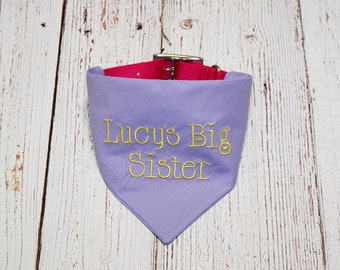 Pregnancy Announcement - Baby Name Announcement - Pregnancy Reveal - Baby Reveal - Big Sister Dog Bandana - Future Sister- Gender Reveal