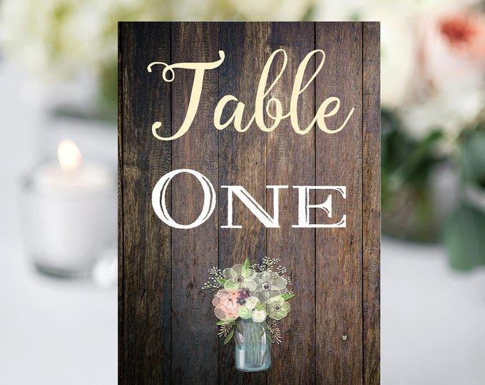 Rustic Table Numbers, Printable Table Numbers, Wedding Table Numbers, Instant Download, Rustic Wedding, Printable, Table Numbers, Rustic