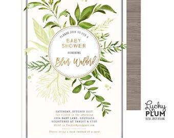 Greenery Baby Shower Invitation / Leaves Green Baby Shower Invitation / Couples Coed Baby Shower Invitation / Garden Foliage Gold