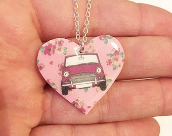 Classic Mini Cooper floral heart necklace
