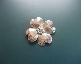 Vintage Sterling Silver Dogwood Flower Brooch Pin Signed