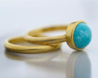 9ct Yellow Gold Turquoise Engagement Ring - Turquoise Ring-Stackable Ring-Birthstone Ring-Engagement and Wedding Rings Set-Made to Order