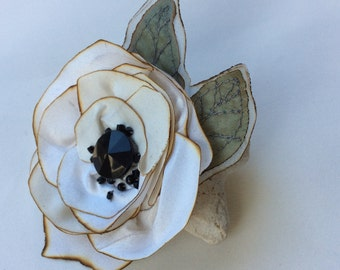 White Silk Poppy with Embroidered Green Leaves and Black Beads