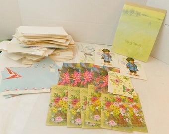vintage greeting cards lot of 30+ envelopes ephemera craft supply