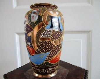 Vintage  vase,Hand painted,  stamped Satsuma Vase, Satsuma Flower Vase,  Collectible