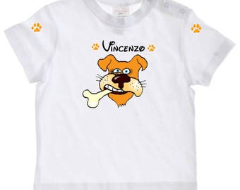 tee shirt baby dog and bone personalized with name