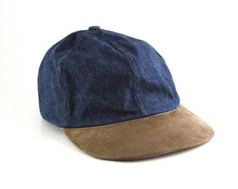 Fitted Vintage Denim and Suede Dad Hat // Youth or Women's Size // Classic Plain Baseball Cap
