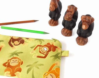 Children pencil bag, Boy pencil case, Monkey pencil pouch, Cute zipper pouch, School supply, Back to school, Zip up pouch Travel wallet Kids