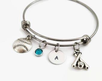 Softball bracelet, baseball, Personalized softball bangle, Softball mom jewelry, Softball gift, Girls softball gift, Gift for softball mom