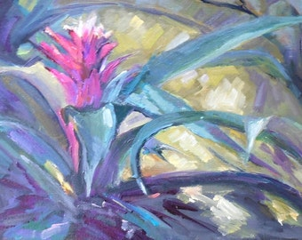 "Floral Oil Painting, Bromeliad Painting, Garden Painting, Small Oil Painting, ""Bromeliad Garden"", 8x16x.75"" Oil, Sale"