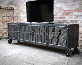 Media Console Cabinet Cart | Modern Industrial  Casters | Riveted TV Cabinet | Mobile Entertainment center | Storage