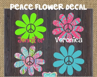 Peace Flower Decal ~ Cooler Sticker ~ Car Decal ~ Laptop Decal ~ Tumbler Decal ~ Notebook Decal ~ YETI Decal ~ Peace Decal~ Flower Decal