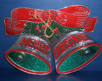 Vintage Christmas Foil Silver Bells, Merry Christmas Sign, 1950's