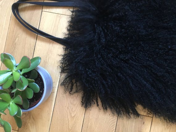 Black Mongolian fur Tote bag with leather straps and backing