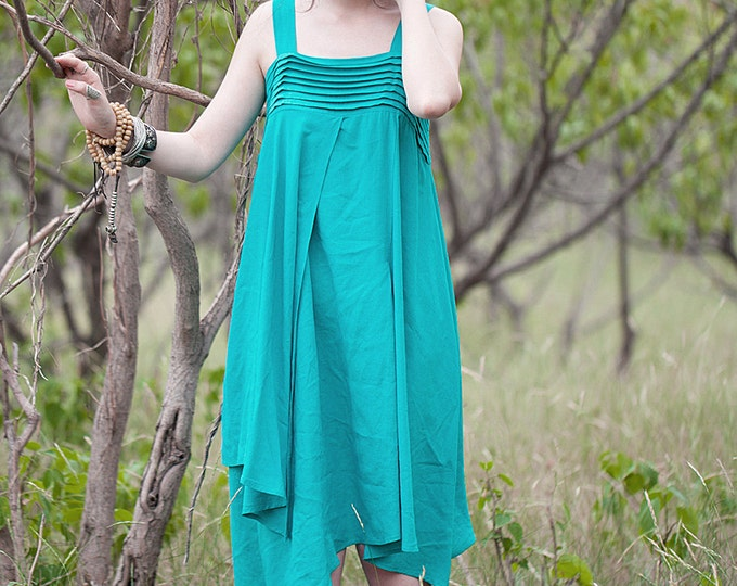 Sleeveless Dress - Ample tunic - Pleated Dress/Decorative pleat - Neck quadrate - Summer dress - Linen dress - Made to order