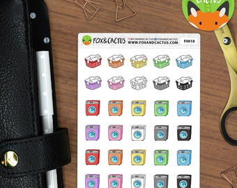 Cleaning Laundry Day - Washing Day Clothes Washing Machine - Planner Stickers (F0018)