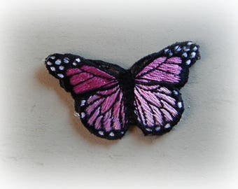 1 patch fusible patch / applique Butterfly in shades of pink, black and white 7.5 * 4.2 cm