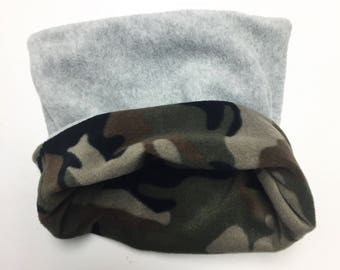 Fleece Camo/Gray Reversible Snuggle Sack for Hedgehogs, Ferrets, Rabbits, Guinea pigs, Hamster and Small Reptiles