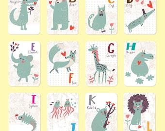 Animal Alphabet Card Set, Nursery Wall Cards, Animal Alphabet Flash Cards, Alphabet Fine Art Prints, ABC Cards  Ask a Question