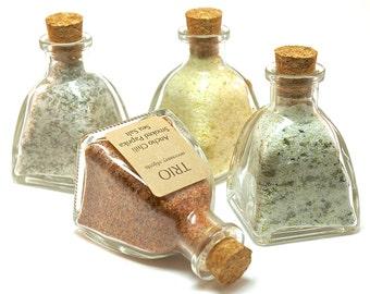 Flavored Sea Salt Set- 4 Gourmet Sea Salt Blends in Mini Pyramid Bottle, Wedding Favor, Salt Sampler, Seasoning, Spice, Chef Gift Set