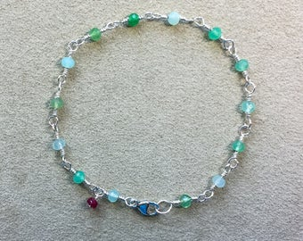 Chyrsoprase, Ruby Bracelet, Argentium Sterling Silver Beaded Rosary Chain Bracelet, Green-blue Gemstones, Meditation Bracelet, Yoga gift