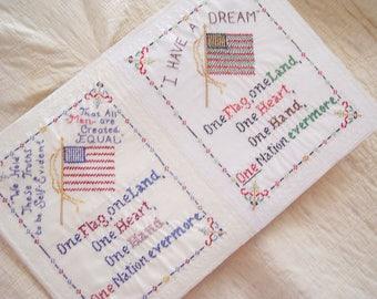 Patriotic Art Sampler-One Flag-American Politics-Hand Embroidered