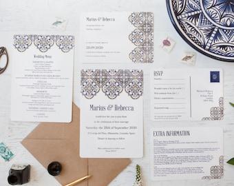 Spanish Tile Wedding Stationery - Minimum order of 25